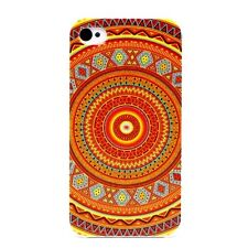►► Coque IPHONE 4 ou 5 - Aztèque cercle Orange Bleu (Tribu Tribal Ethnique art)