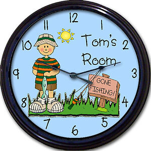 Gone Fishing Child's Personalized Wall Clock Fishing Boy FishTrout Fisherman 10""