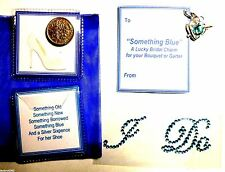 """Something Blue"" Bridal Good Luck Heart Charm ""I Do"" & Old Sixpence for her Shoe"