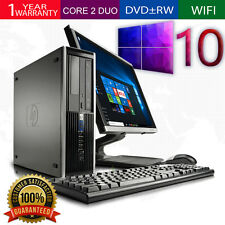 "HP Windows 10 Computer PC Pro 6000 SFF Intel Core 2 Duo 4GB 250GB 19"" LCD DVDRW"