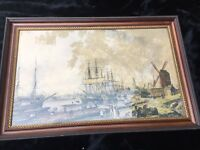 """1950's Restrike """"Shipbuilding at Limehouse"""" Hand Colored Lithograph"""