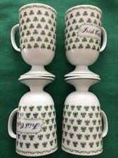 Set of Four*Vintage Irish Coffee Mugs*white with green shamrocks*Made in Japan
