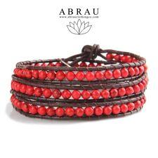 Red Coral Boho Style Gemstone Beaded 3 Wrap Genuine Leather Bracelet HandMade