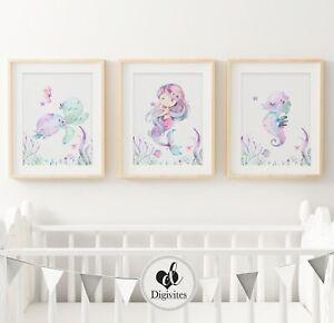 Girl Nursery & Bedroom Wall Art Mermaid, underwater, turtle, Marine Set of 3