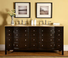 "72"" Lavatory Furniture Travertine Top Double Sink Bathroom Vanity Cabinet 704T"