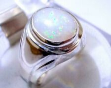 Oval Cabochon Opal Multi Color Men Ring 925 Sterling Silver Handmade US 9 Shia