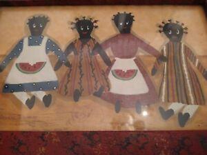 "Vintage Joanne Timmons?, Black Americana Folk Art 12""x8"" Mother's & Children"""