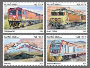 Guinée-bissau - 2020 Africain Chemin de Fer Trains - 4 Tampon Ensemble -