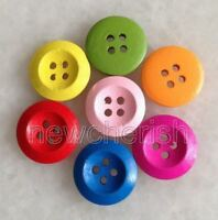100 Pcs 4 Hole Color Mixed Round Shaped Wood Buttons For Sewing/Scrapbook nnk208