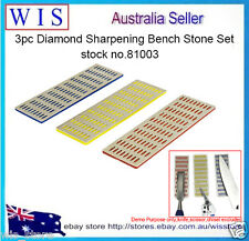 3pc Professional Diamond Stone Sharpening Set Extra Fine Coarse Whetstone Knife