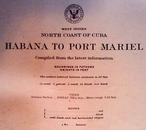 1906 Sea Chart Havana Cuba Caribbean Antique Map Coastal Sailing (1920)