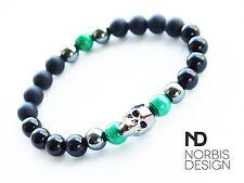 Men Onyx/Malachite/Hematite Skull Bracelet with Swarovski Crystal 7-8inch Chakra