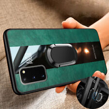 Luxury Magnetic Hybrid Leather Ring Cover Case For Samsung S20 Ultra S10 S9 Plus