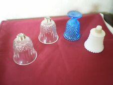 4 Home Interior Votive Cups- Clear Diamond /White Hobnail/Blue Footed Hobnail