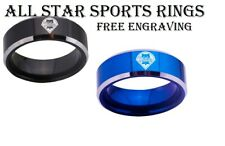 Philadelphia Phillies Black or Blue Tungsten Wedding Band With Silver Edges