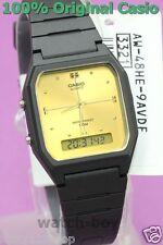 AW-48HE-9A Black Gold Casio Plastic Watch Dual Time Analog Digital New Alarm
