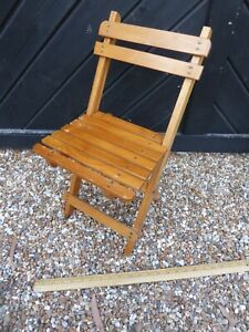 Vintage Childs Wooden Folding Chair - Suit Shop Display / Teddy or Doll