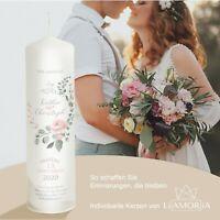 Hochzeitskerze - Rosa Rose - Namen und Datum sowie Trauspruch ➜ Liamoria