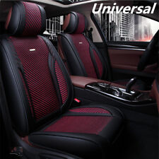 Luxury 5D Black PU Leather Full 5-seats Car Seat Covers Cushion Red Knitted Silk