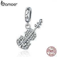 BAMOER S925 Sterling silver Charm Violin Dnalge & CZ For DIY Bracelet Jewlery