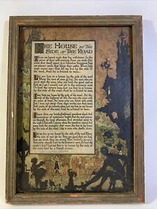 Orig Antique Framed Buzza Motto 1897 House by Side of the Road Sam Walter Foss