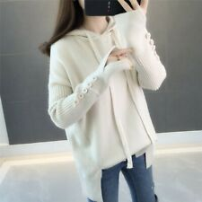 Women Korean Hooded Knitted Sweater Autumn Winter Loose Casual Pullover Fashion