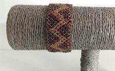 Women Bronze Gold Glass Sea Bead Pattern Cuff Bracelet Handmade Toggle Fasten