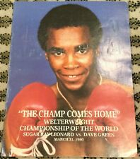 SUGAR RAY LEONARD V DAVEY BOY GREEN-WORLD WWC-1980-BOXING PROGRAM