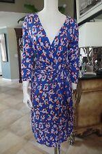 ANN TAYLOR Womens 10 Blue Floral Printed 3/4 Sleeve Faux Wrap Sheath Dress