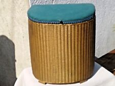 VINTAGE LLOYD LOOM LAUNDRY BASKET - GOLD WICKER & GREEN CUSHION
