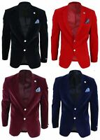 Mens Velvet Blazer Suit Jacket 2 Button Dinner Smart Casual Formal Tailored Fit