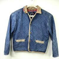 Vintage Foxrun Jean Jacket Women's Small Snap Button Denim Thick Sweatshirt 90s