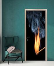 Smoke Fire on Matches Self-Adhesive Bedroom Door Murals PVC Wall Door Stickers