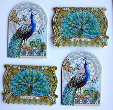 *PUNCH STUDIO Set of 4 Die Cut Blank Note Cards ~ Peacock ~ Feathers ~ Thank You