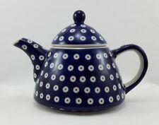 Bunzlauer Keramik Teekanne spitz, Kanne für 0,9Liter Tee, (C005-70A); Punkte
