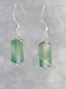 Silver Plated Semi Precious Green Agate Gemstone Earrings (mx69)