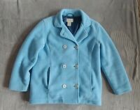 LL Bean Polartec Fleece Peacoat Jacket Womens XS Petite White Button Rare EUC