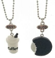 Girl Children BFF Best Buds Friend Cookie Coffee cup Pendant Necklace Gift her