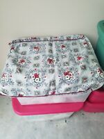 Vtg 1930-40's Barkcloth Gray red & White Flower Floral Design Pillow Case Fabric