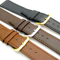 Fine Stitched Calf Leather Watch Band 16-22mm Black Brown or Tan Free Pins