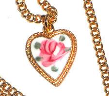 Vintage Emmons Necklace Guilloche Enamel Heart Charm Little Girl Flower #1455