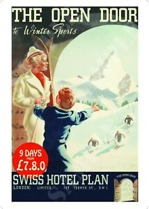 Reproduction The Open Door To Winter Sports Poster A4 A3 A2 Swiss Retro Vintage