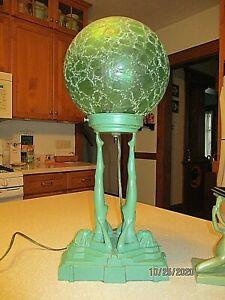 "RARE Art Deco 2 NUDES LAMP FRANKART ? HEAVY CRACKLE GLASS GLOBE GREEN FINISH 19"""