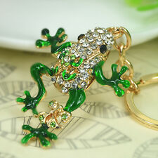 T Frog Keyring Rhinestone Crystal Charm Pendant Key Bag Chain Christmas Gift