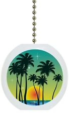 Tropical Sunset Palm Tree Solid CERAMIC Ceiling Fan Light Lamp Pull