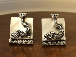 Vintage 1950s SWANK Serpent Fish Mother of Pearl Sterling Silver CUFFLINKS Heavy