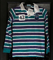 New with Tags Boy's White/Green/Purple Rugby Type Shirt by TU - Age 12yrs