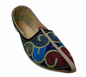 Men Shoes Indian Genuine Leather Flip-Flops Handmade Mojaries Flat UK 8.5 EU 42