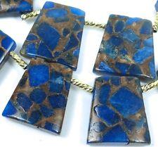 28mm Sapphire in Quartz Pyrite / Bronze Vein Ladder Trapezoid Pendant Beads (6)