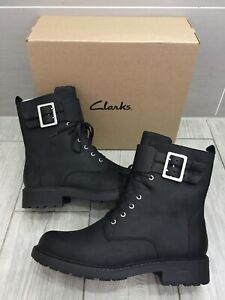 LADIES NEW CLARKS BLACK LEATHER ORINOCO2 LACE BUCKLE TRENCH BOOTS, UK 8